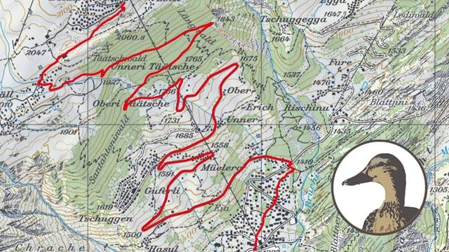 Kartenausschnitt mit Entencomic