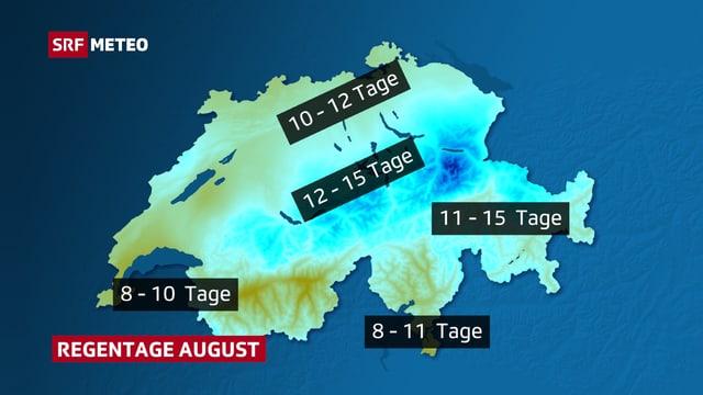 Schweizer Karte mit Regntage-Verteilung