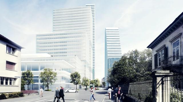 Fotomontage der Roche der Arealentwicklung. Blick von der Grenzacherstrasse auf die neuen Gebäude.