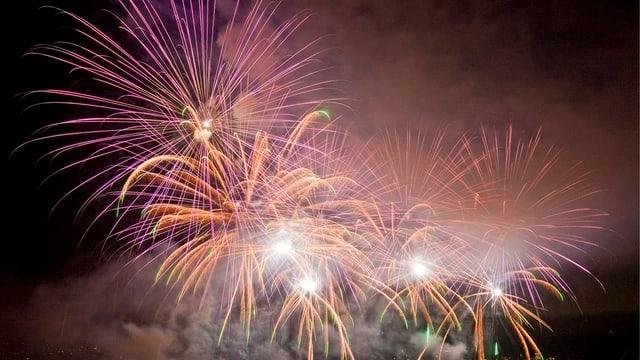 Ein farbiges Feuerwerk vor schwarzem Nachthimmel.