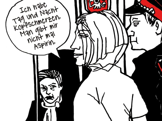 Zeichnung: Eine Frau vor Gericht.