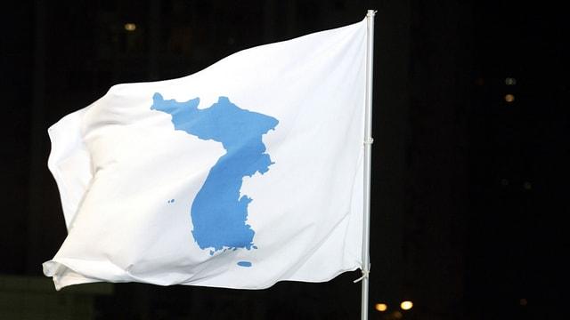 Flagge mit den Umrissen der nordkoreanischen Halbinsel
