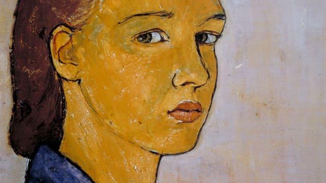 Ein Selbstporträt von Charlotte Salomon. Sie hat braunes Haar und trägt ein blaues Hemd.