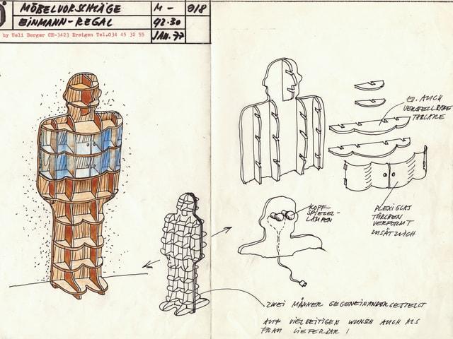Skizze eines Regals in Form eines Mannes.