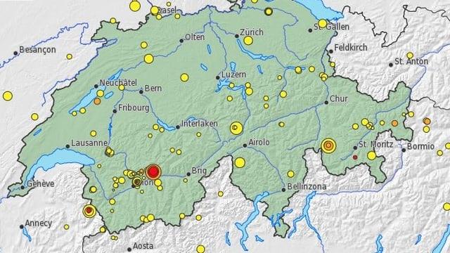 Karte der Schweiz mit rotem Punkt im Wallis.