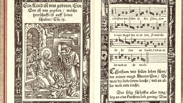 Aufgeschlagenes Gesangbuch: rechte Seite ein Bild einer Frau und eines Mannes mit Baby, linke Seite Noten mit Text.