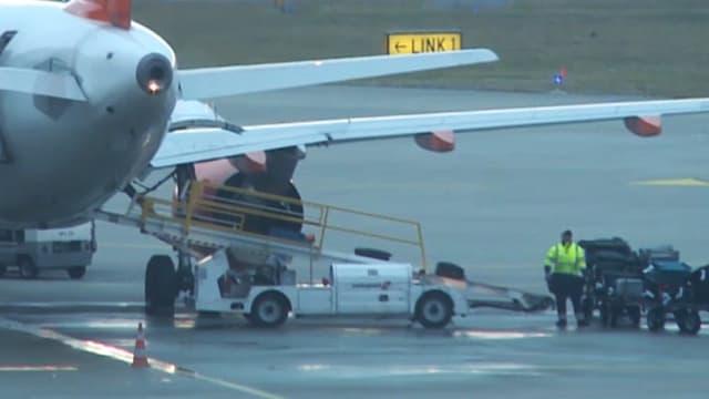 Auf dem Flughafen Genf wird Gepäck in ein Flugzeug verladen.