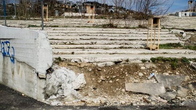 Blick auf die Brache, wo einst das Hardturm-Stadion in Zürich stand.