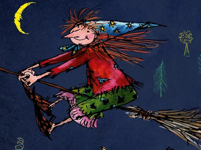 Zeichnung der kleinen Hexe auf einem fliegenden Besen.