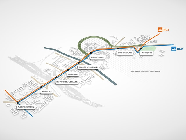 Grafik zur neuen Tramlinie und Tunnel
