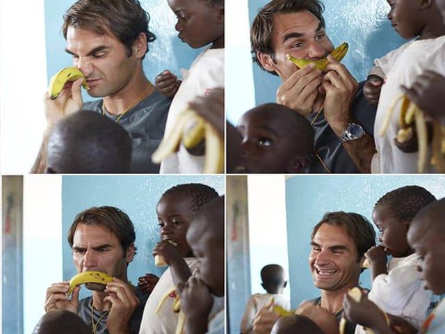 Auf vier Bildern ist Roger Federer mit einem Kind und einer Banane zu sehen. Er scherzt mit der Banane rum und Lacht.