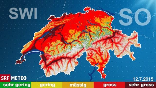 Der aktuelle Schweizer Waldbrand Index zeigt die Gefahrenzonen.