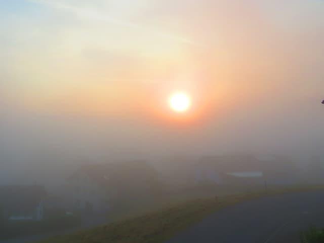 Sonne scheint durch Nebel.