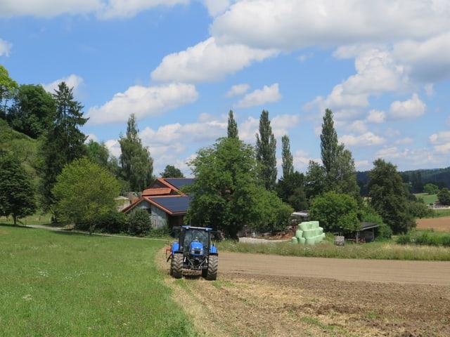 Traktor auf einem Feld.