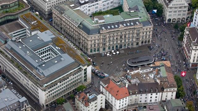 Der Paradeplatz in Zürich (Luftaufnahme)