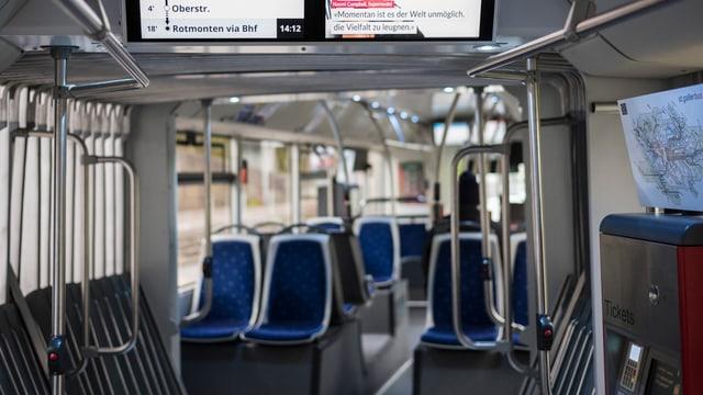 Leerer Bus der Verkehrsbetriebe St. Gallen