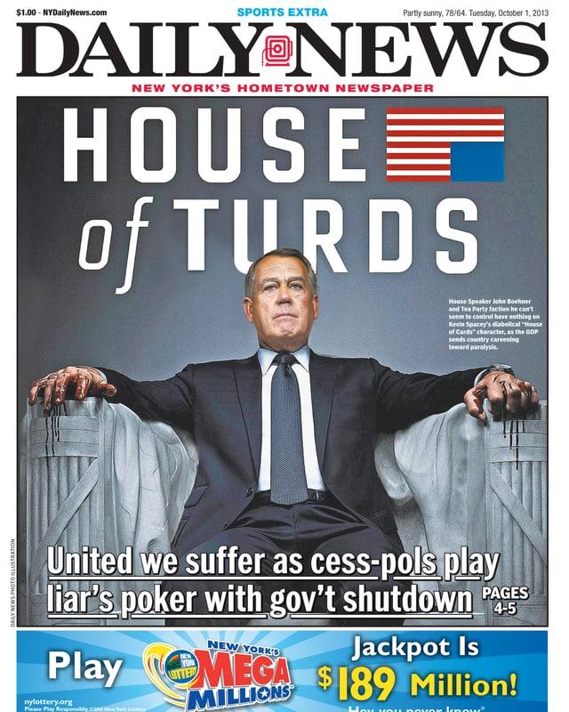 «House of Cards» Zitat mit John Boehner auf der Frontseite von «Daily News», 1. Oktober 2013.