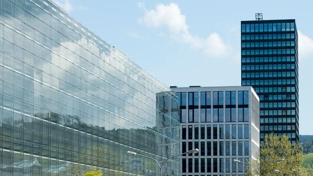 Neue Bürogebäude stehen nebeneinander.