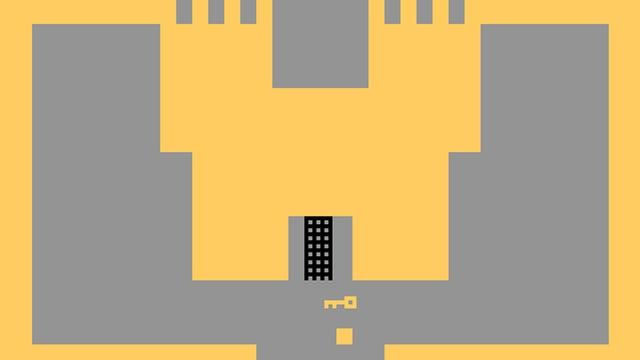 Schlichte Computergrafik: Ein gelbes Schloss vor grauem Hintergrund.