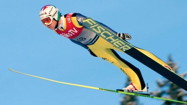 Simon Amman flog mit einer Weite von 224 Metern auf den 3. Rang in der Qualifikation.