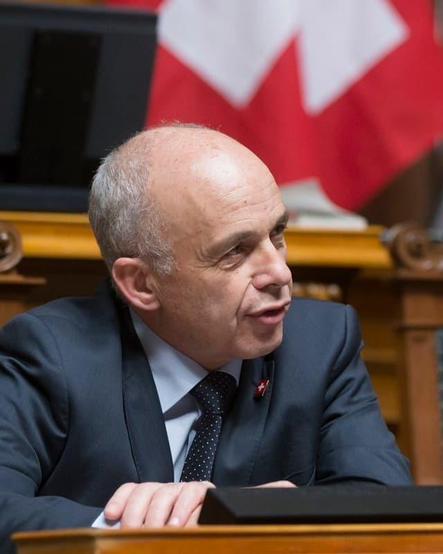 Bundespräsident Ueli Maurer und SVP-Nationalrat Caspar Baader.