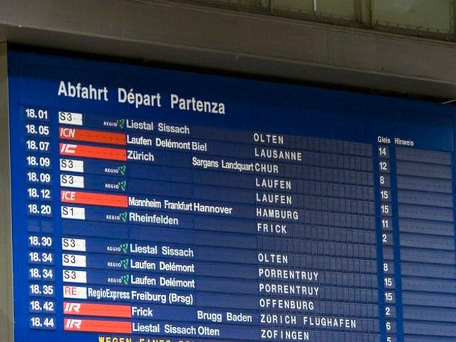 Fahrplantafel im Bahnhof SBB