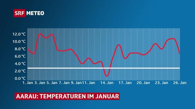 Der Verlauf der Januartemperatur in Adelboden. An lediglich einem Tag sinkt der rote Temperaturverlauf unter die weisse Linie der Norm.