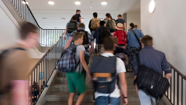Schüler auf einer Treppe von hinten