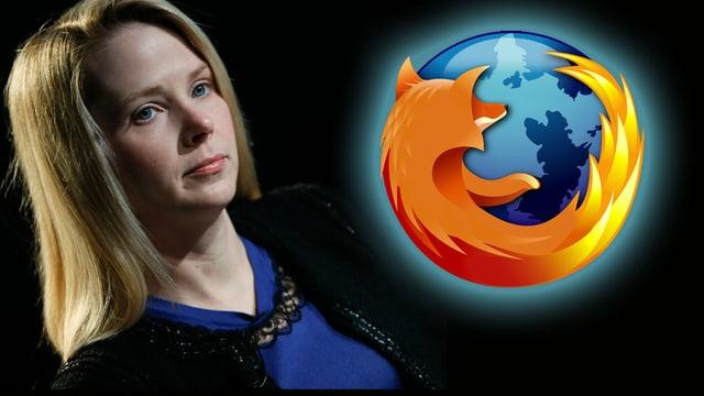 Collage: Portrait von Marissa Mayer neben dem Firefox Logo
