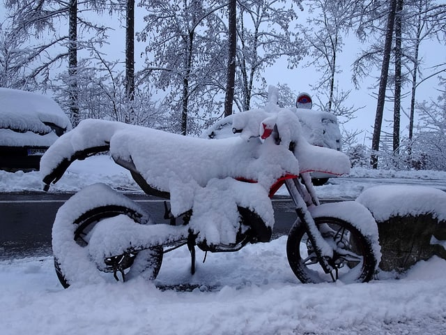 Snowy motorcycle.