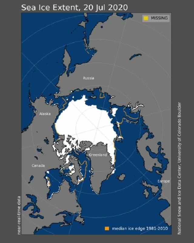Eine Karte zeigt, dass das Meereis vor allem nördlich von Russland zurück gegangen ist.