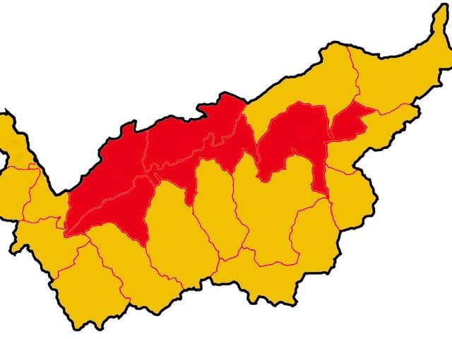 Karte Kanton Wallis mit einigen rot eingefärbten Gebieten im Norden des Kantons.