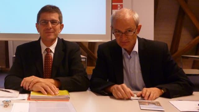 Professor Urs Müller mit dem Bieler Stadtpräsidenten Erich Fehr (links)