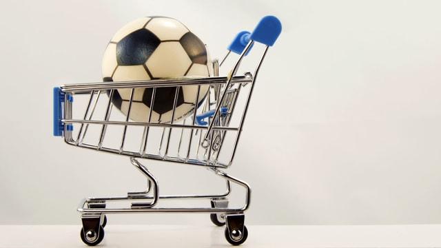 Fussball in Einkaufswagen