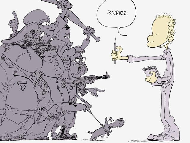 Cartoon: Zeichner mit Stift und Papier steht vor einer bewaffneten Horde und bittet sie zu lächeln.