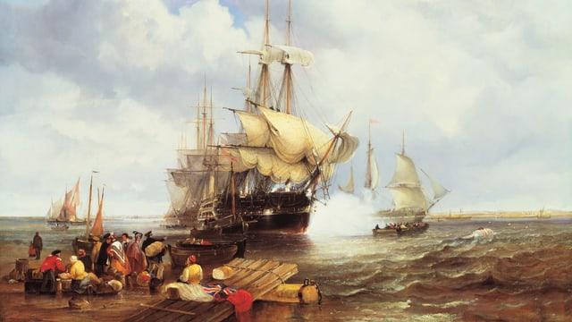Ein altes Schiff auf dem Meer. Am Ufer laden und entladen Leute ihre Waren.