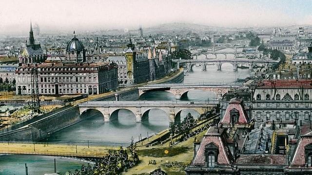 Gemälde von Paris mit der Seine.
