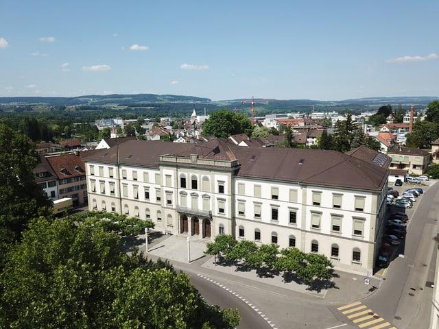 Das Regierungsgebäude in Frauenfeld aus der Vogelperspektive.