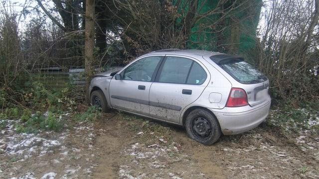 Ein Auto das gegen einen Baum gefahren ist