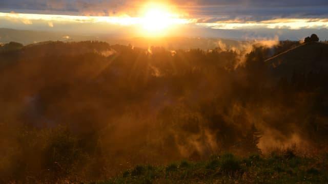 Abendliche Sonnenstrahlen verdunsteten die Feuchtigkeit über dem Emmental.