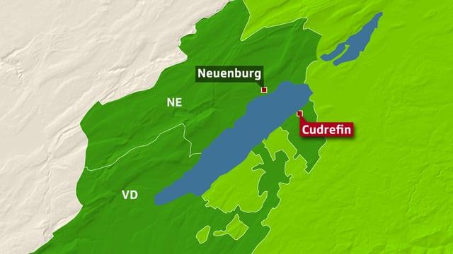 Karte Kanton Waadt mit Cudrefin.