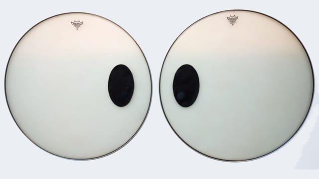 Zwei Trommelfelle mit aufgemalten, comichaften Augen.