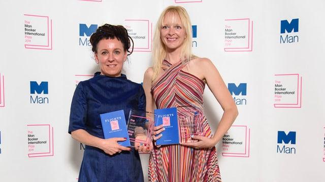 Die polnische Autorin Olga Tokarczuk (links) und die US-amerikanische Übersetzerin Jennifer Croft.