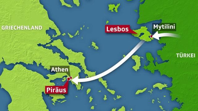 Kartenausschnitt mit der Türkei und Griechenland.