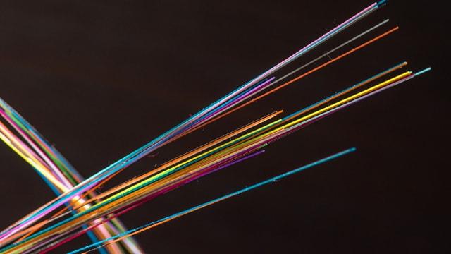 Glasfaserkabel für die Telekommunikation.