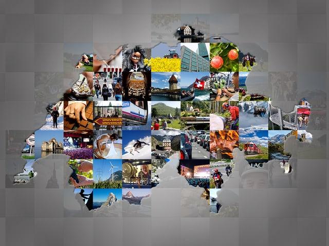 Verschiedene Bilder in der Form der Schweiz zusammengefügt