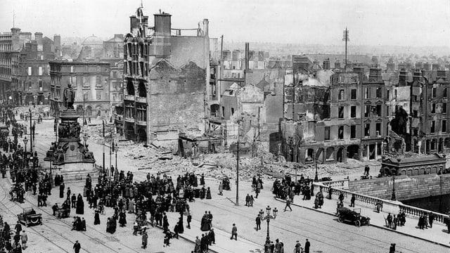 Ein zerstörtes Dublin im Jahr 1919 nach dem Osteraufstand.