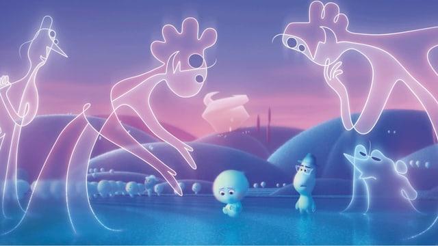 Szene aus einem Animationsfilm: Zwei Seelen umringt von grossen, lächelnden Gestalten, die nur aus Linien bestehen.