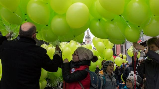 Demonstranten in der St. Galler Innenstadt