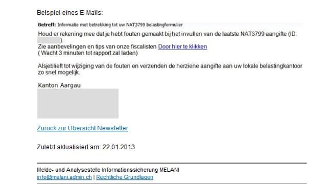 Screenshot des Mails das Unbekannte im Namen des Kantons Aargau verschickt haben.